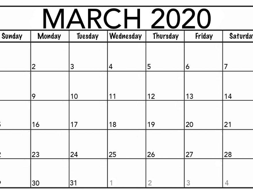 March 2020 Blank Calendar Excel