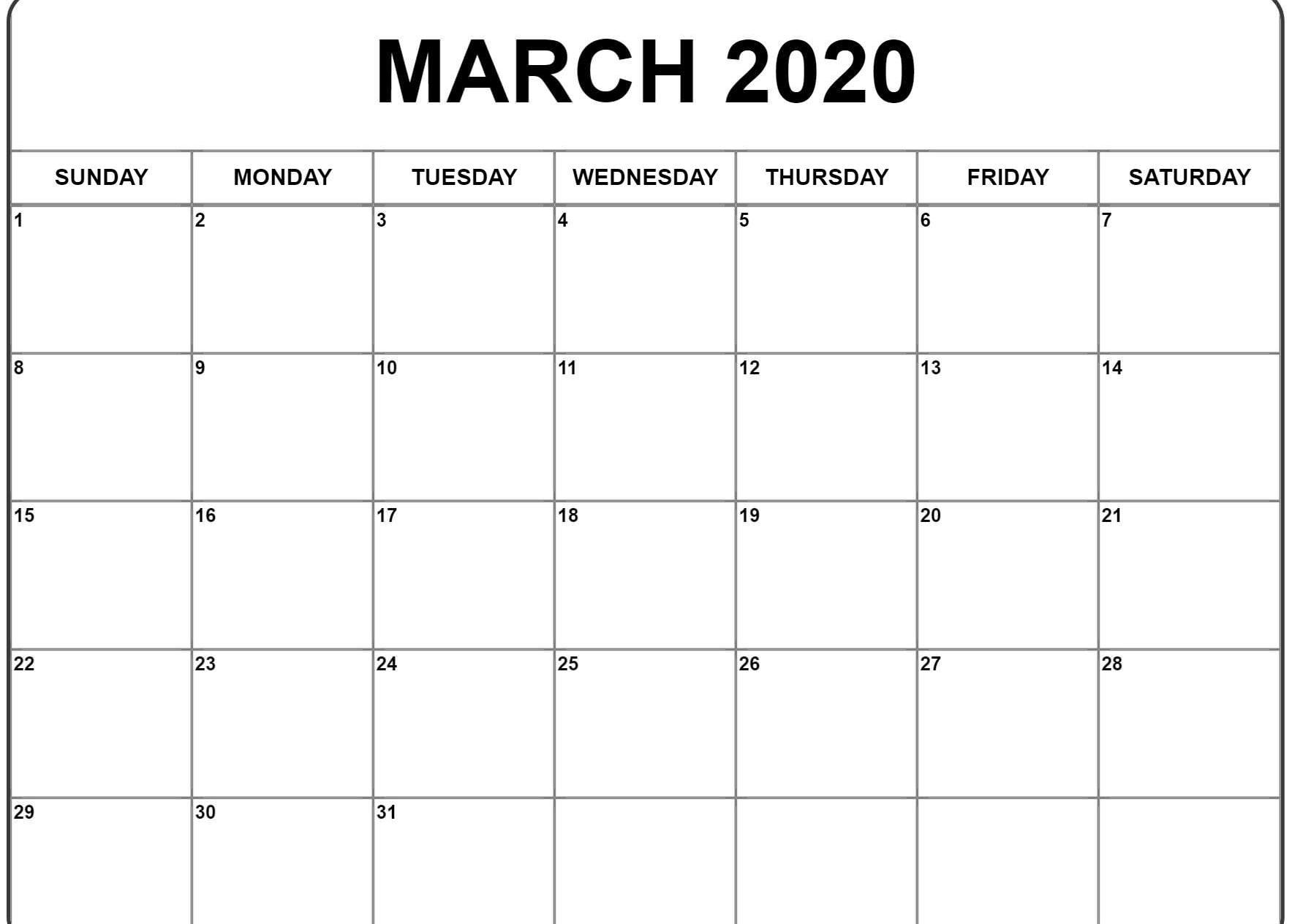 March 2020 Blank Calendar Printable