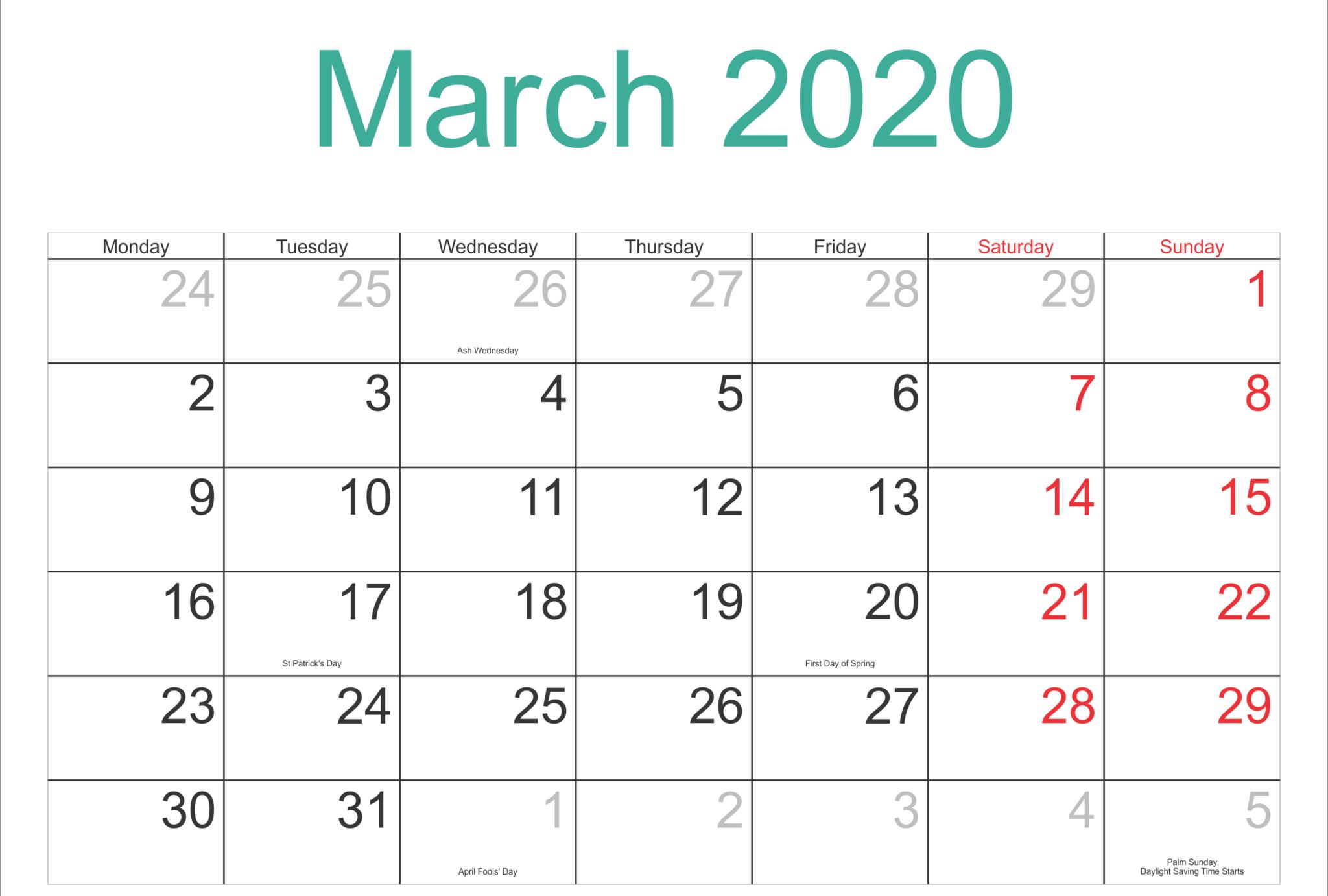 March 2020 Calendar Templates Word