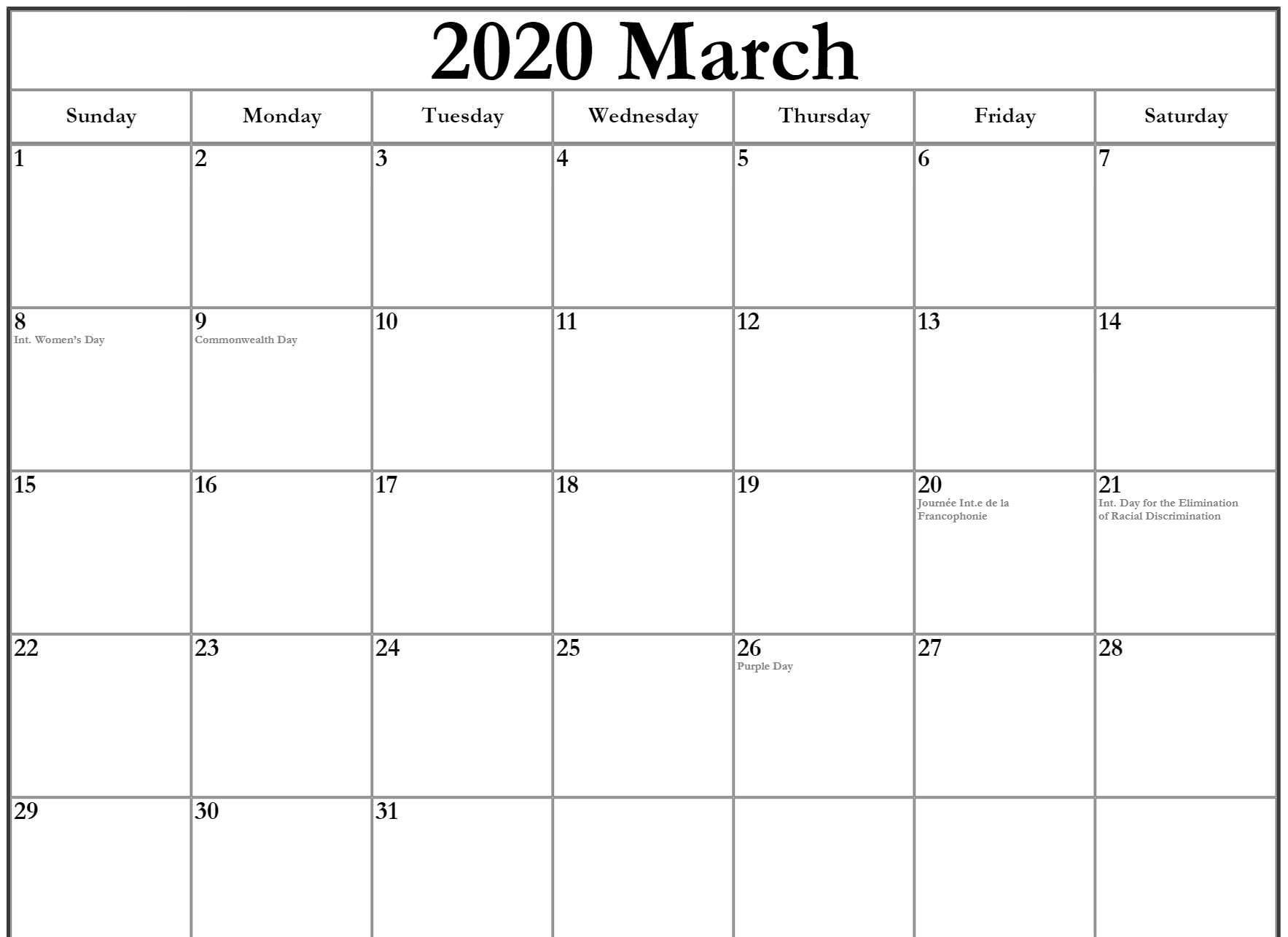 March 2020 Calendar With Holidays Canada