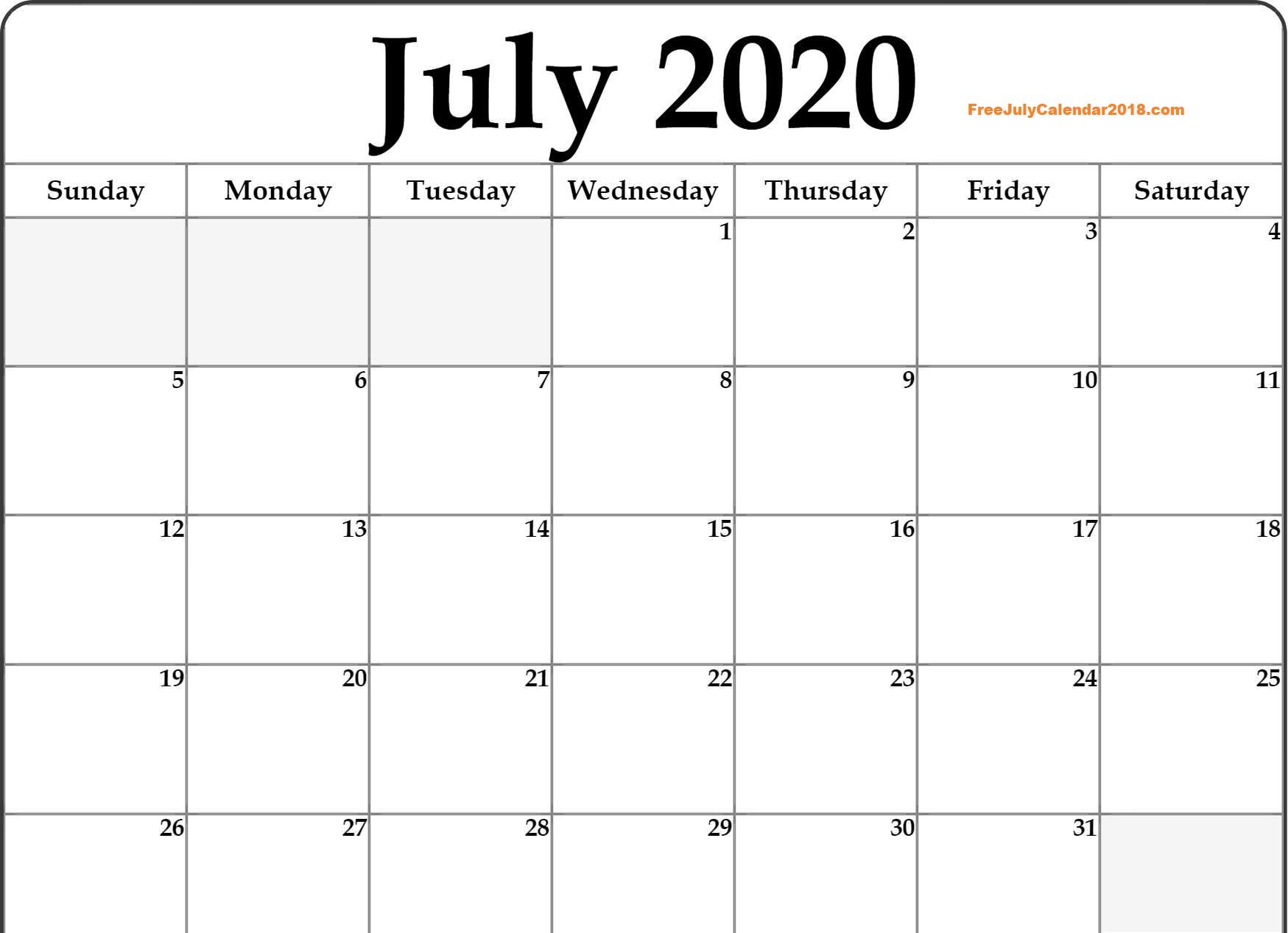 Printable 2020 July Calendar PDF