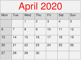 Printable Editable April 2020 Calendar