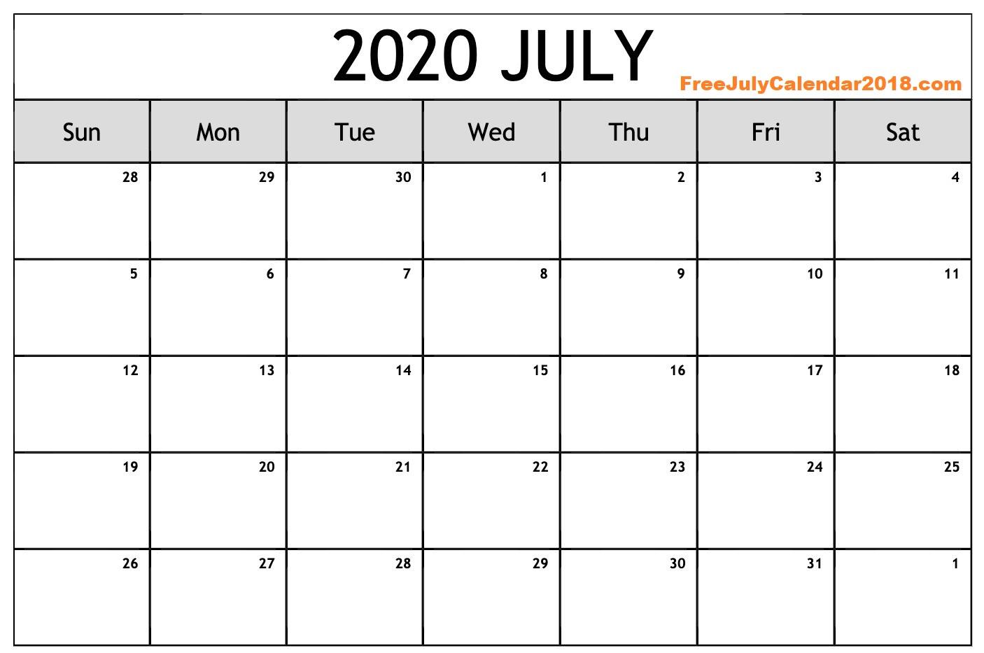 Printable July 2020 Calendar Blank