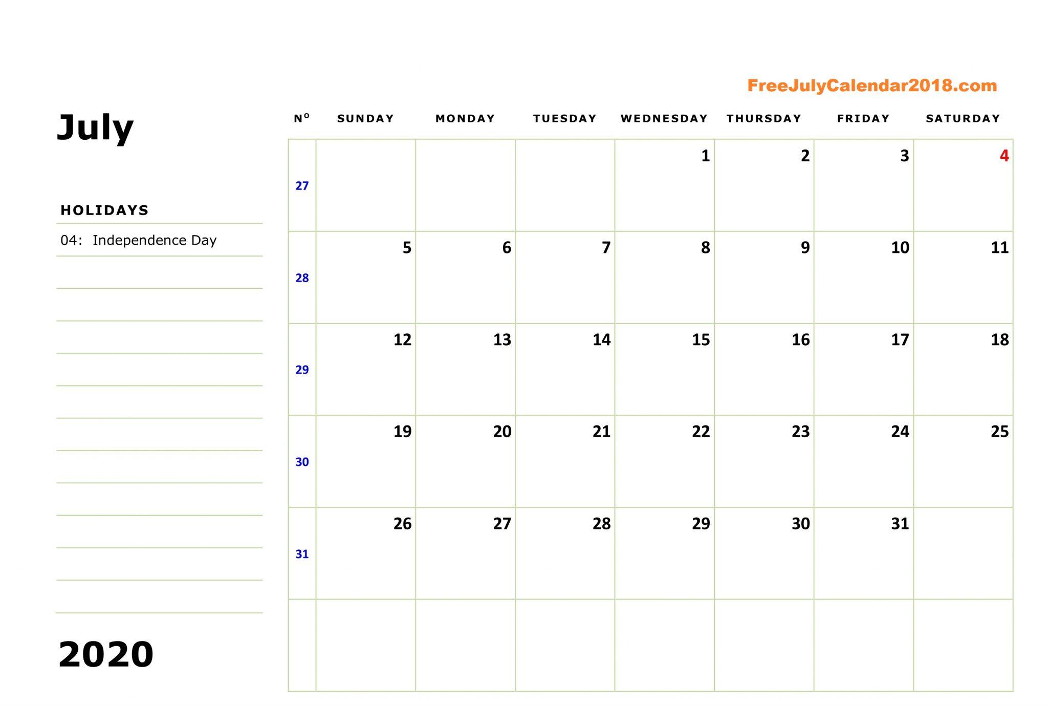 Printable July Calendar 2020 Editable Page