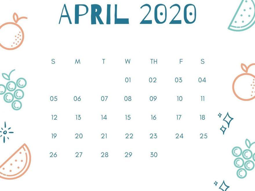 April 2020 Calendar iPhone Wallpaper