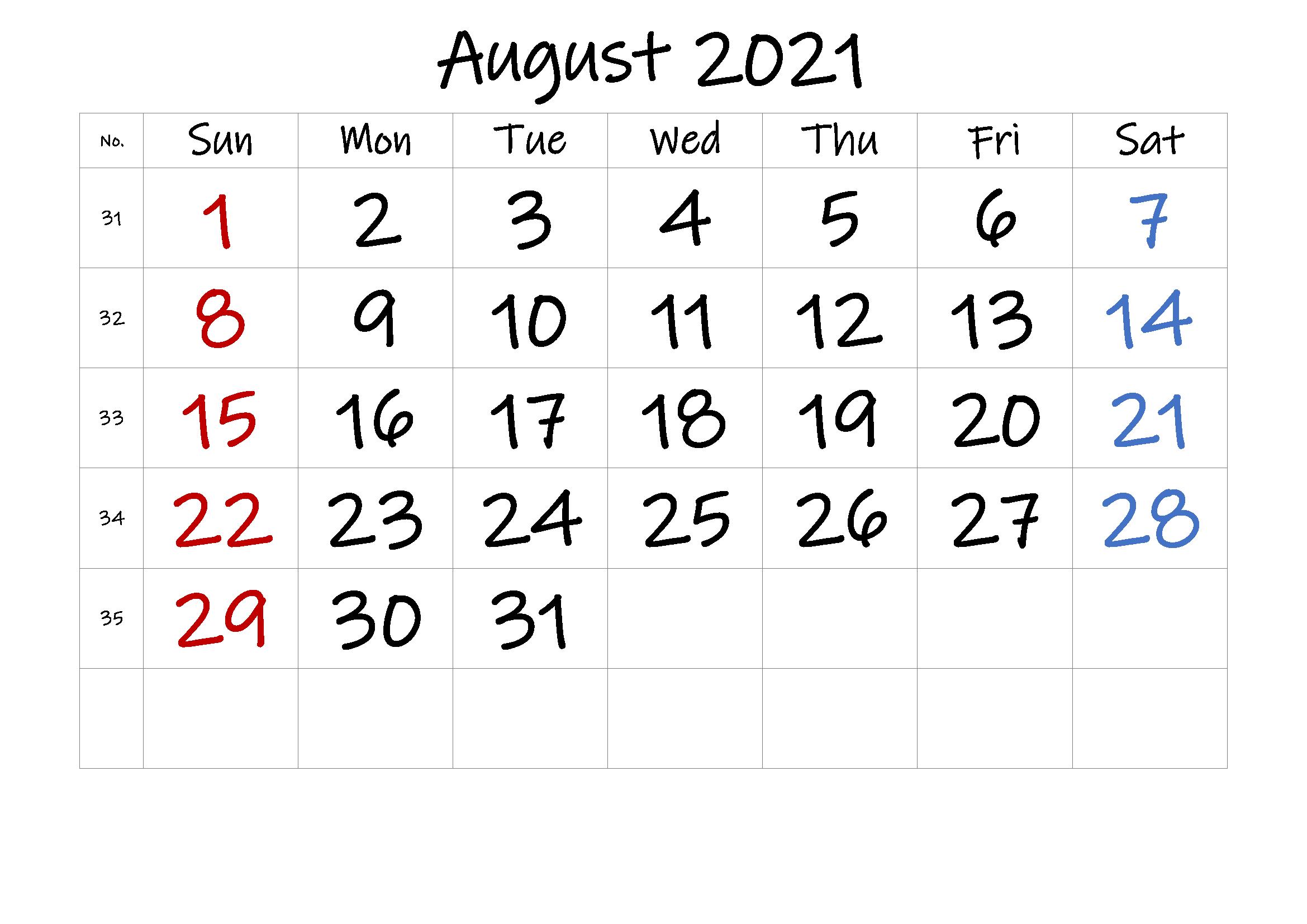 August 2021 Calendar Fillable