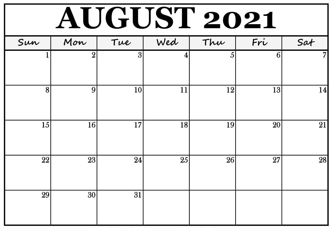 August Calendar For 2021
