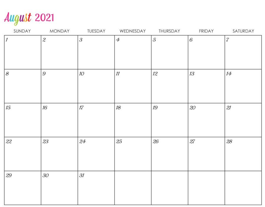 Editable 2021 August Calendar