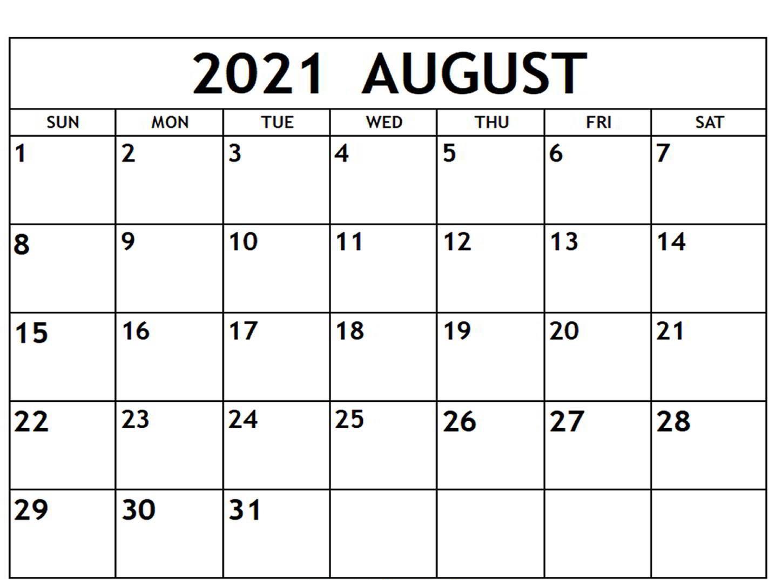 Fillable August Calendar 2021 Template