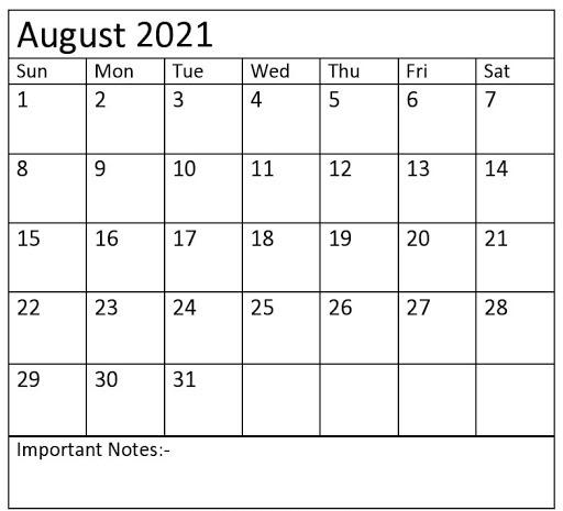 Fillable August Calendar 2021