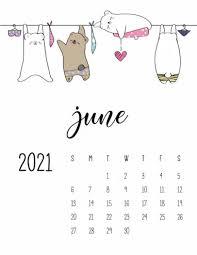 Cute June Wall Calendar 2021