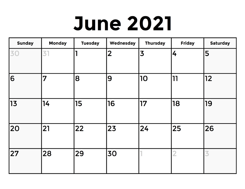 Free June 2021 Calendar With Holidays