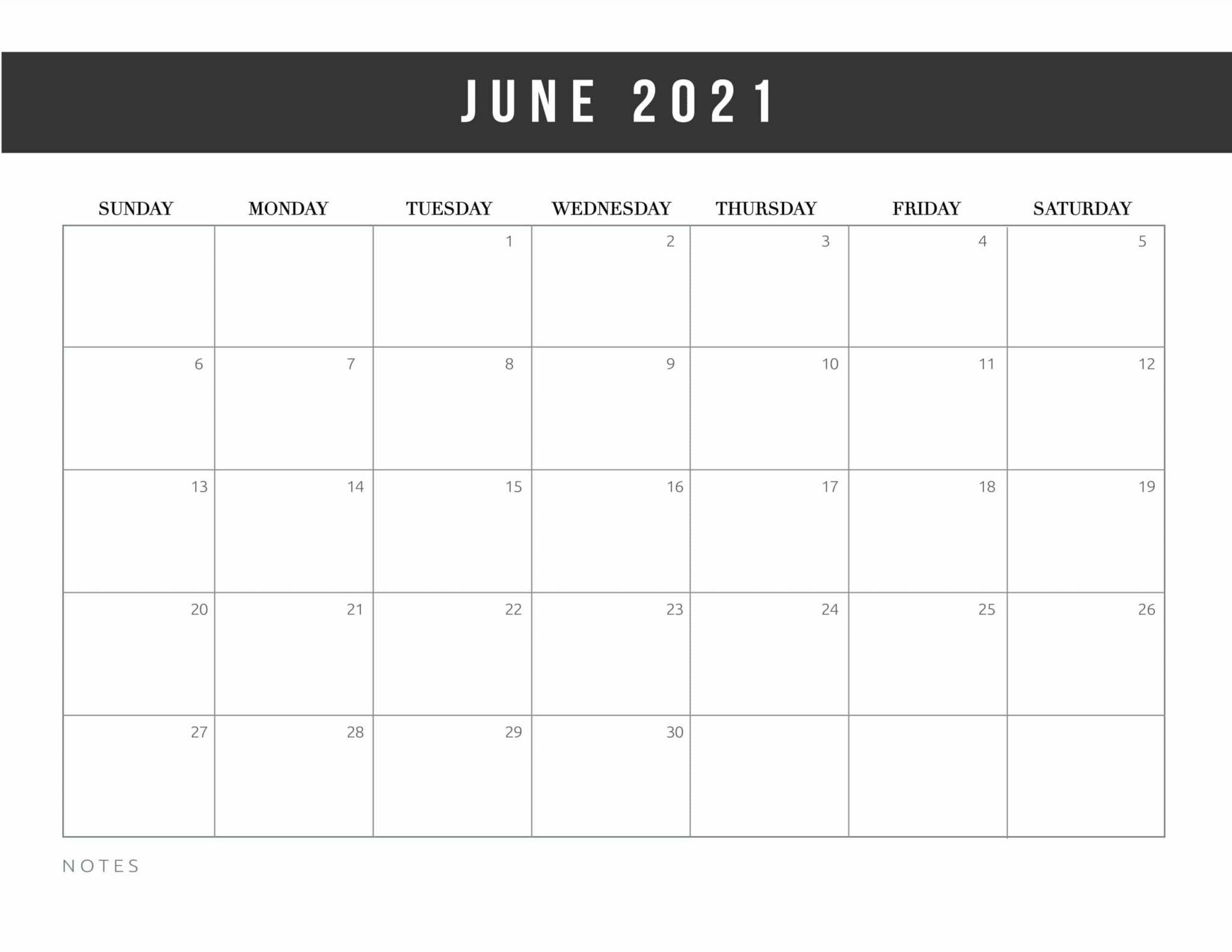 Free Printable June 2021 Calendar Template