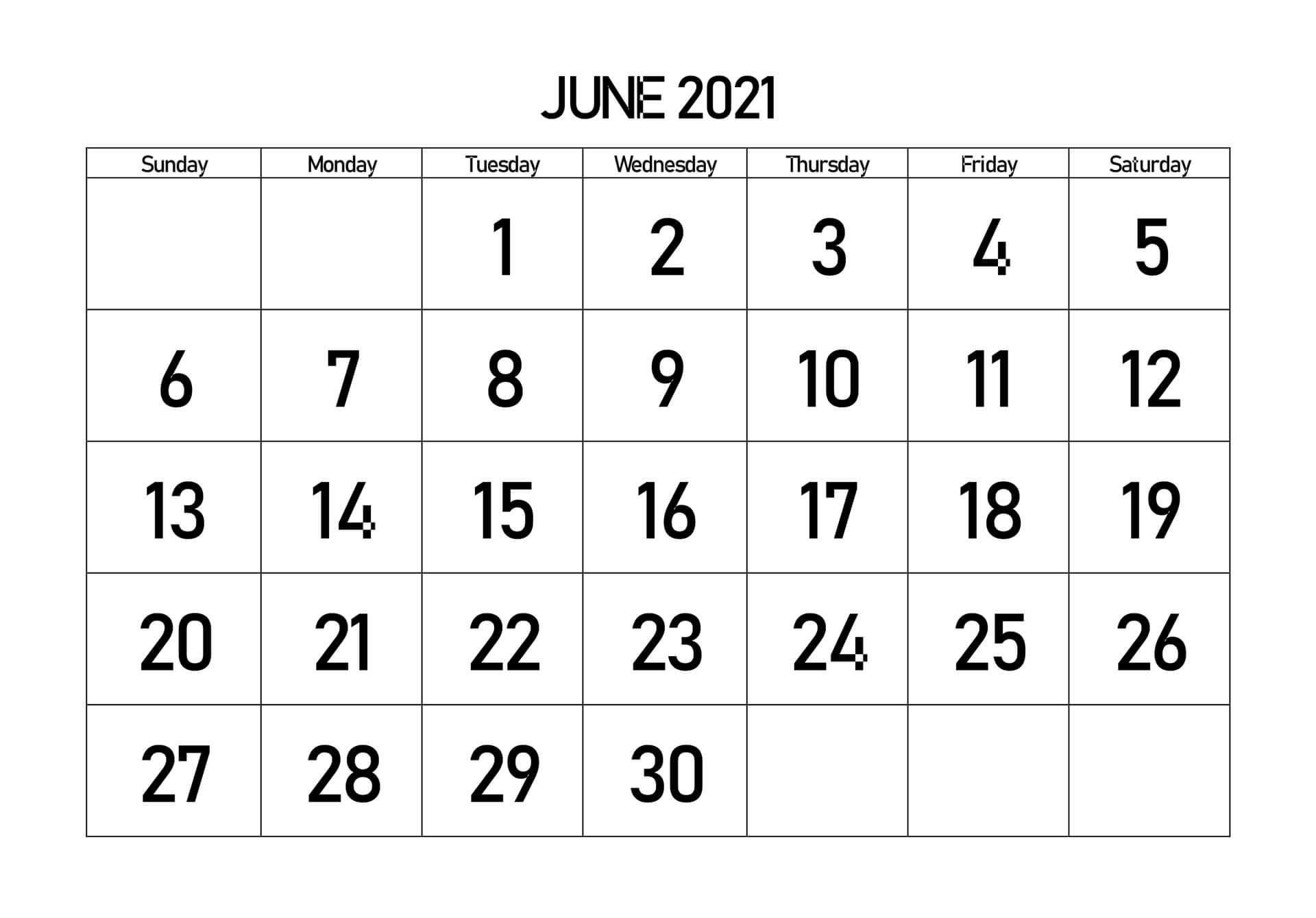 June 2021 Calendar Blank Template