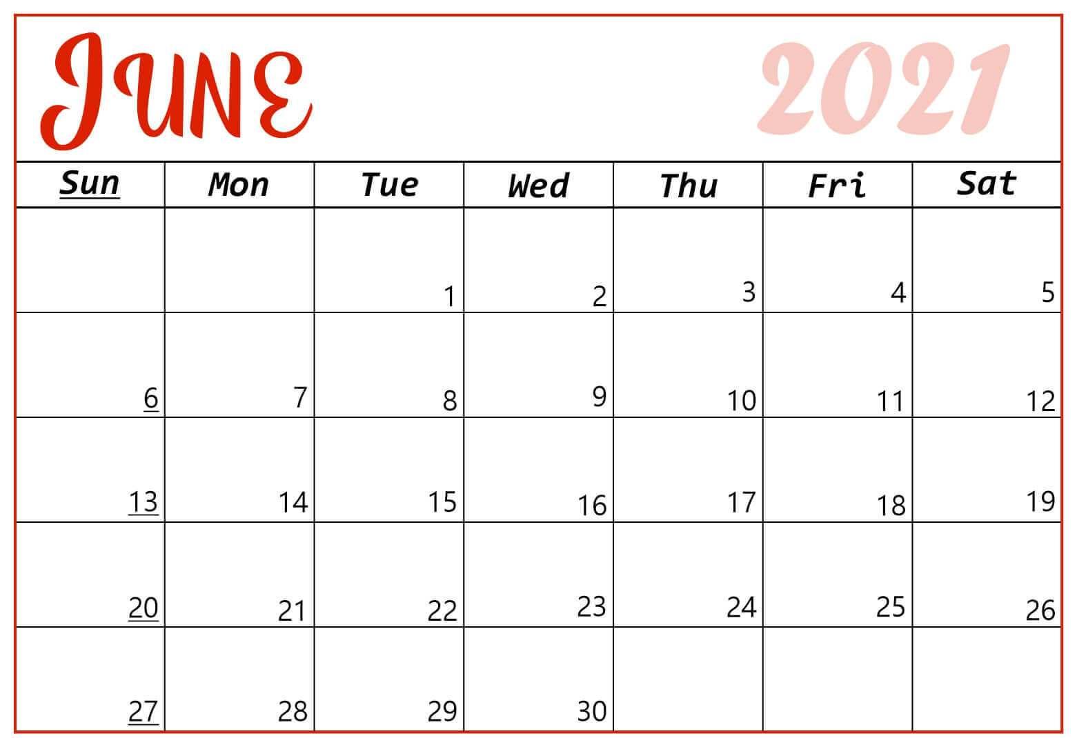 June 2021 Calendar Blank