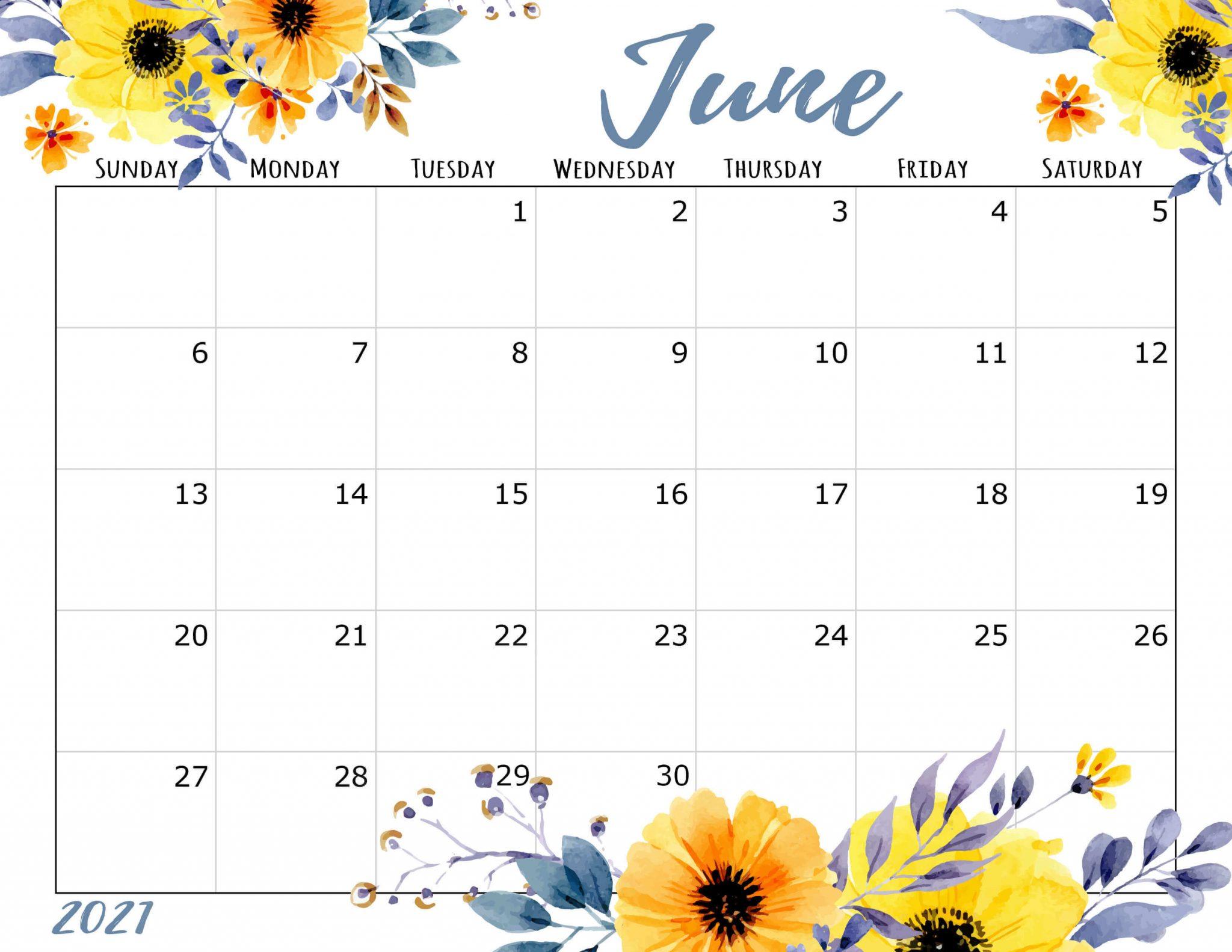 June 2021 Calendar Floral