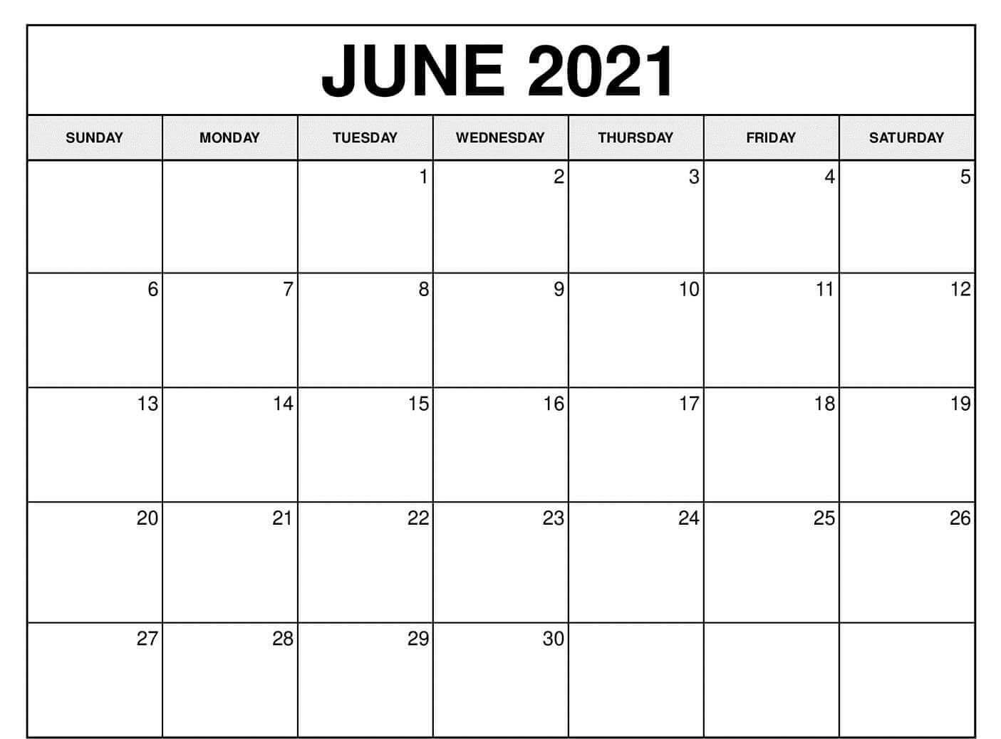 June 2021 Calendar Printable Blank Template