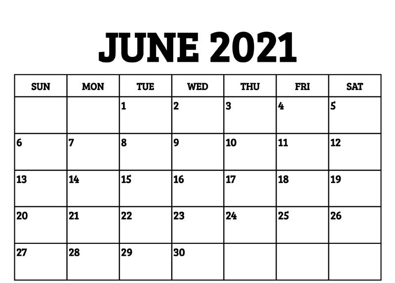 June 2021 Calendar Printable Word