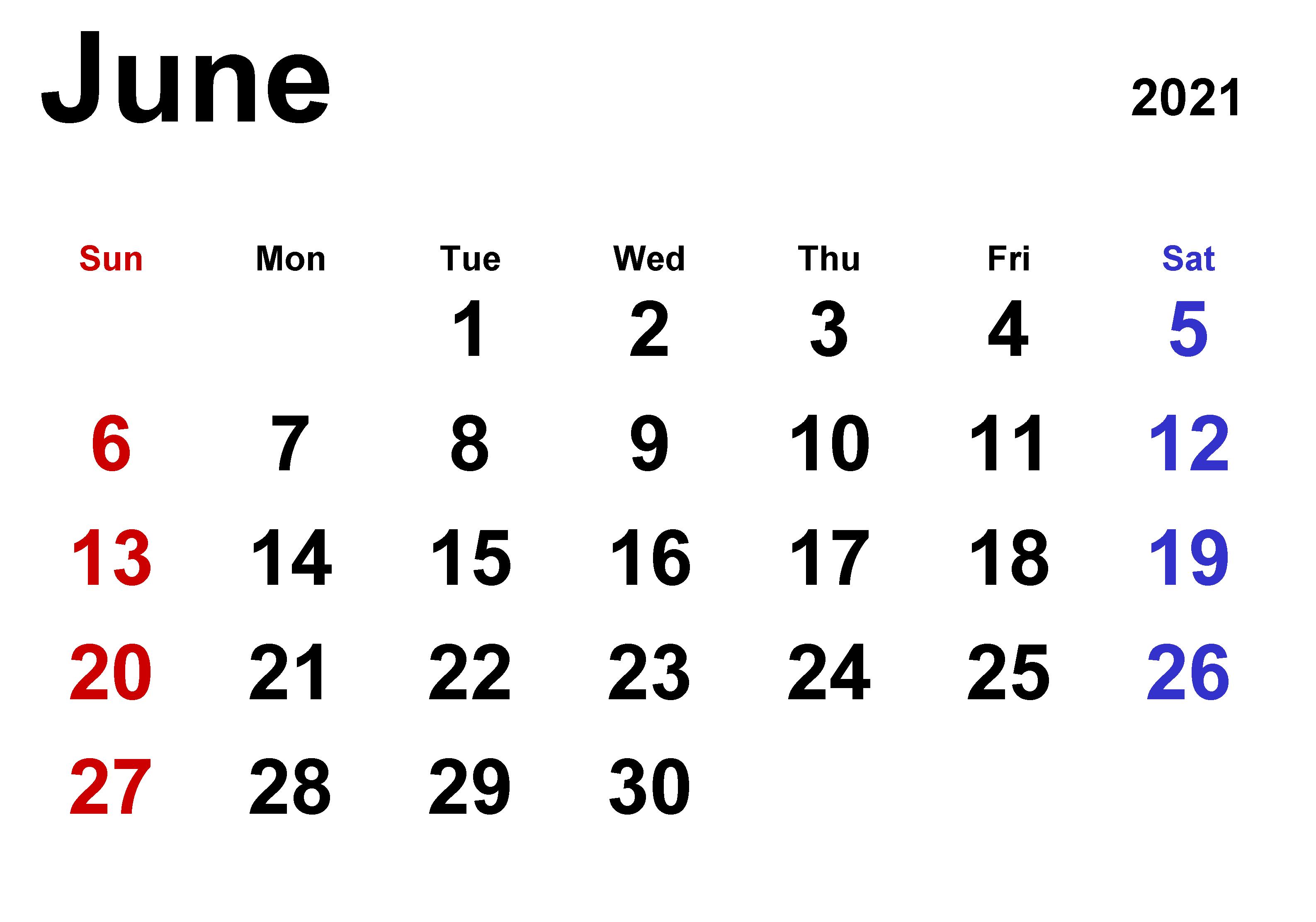 June Printable Calendar 2021