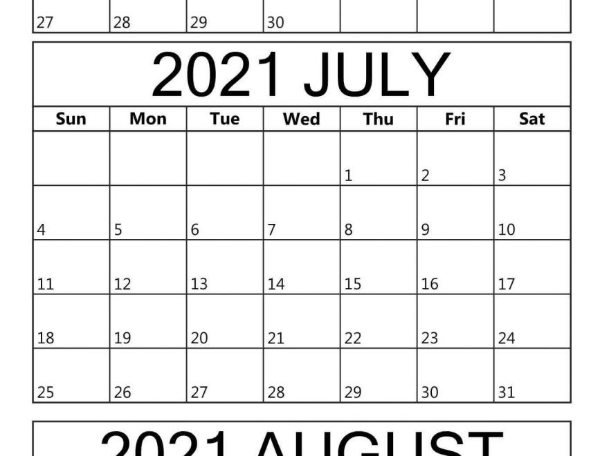 June To August Calendar 2021