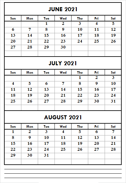 June to August 2021 Calendar with Notes