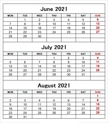 Printable Calendar of June to August 2021