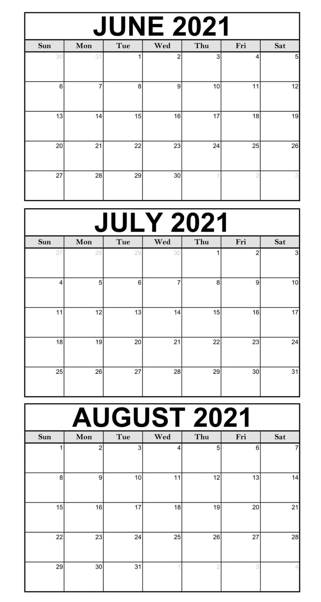 Printable June To August 2021 Calendar