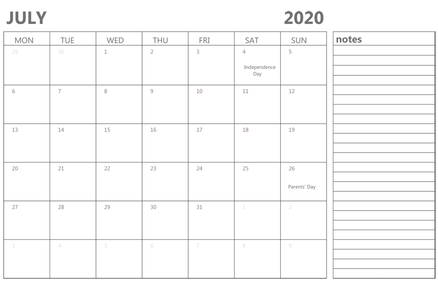 Fillable July 2020 Calendar with Notes