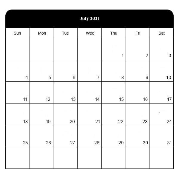 Fillable July 2021 Calendar Templates