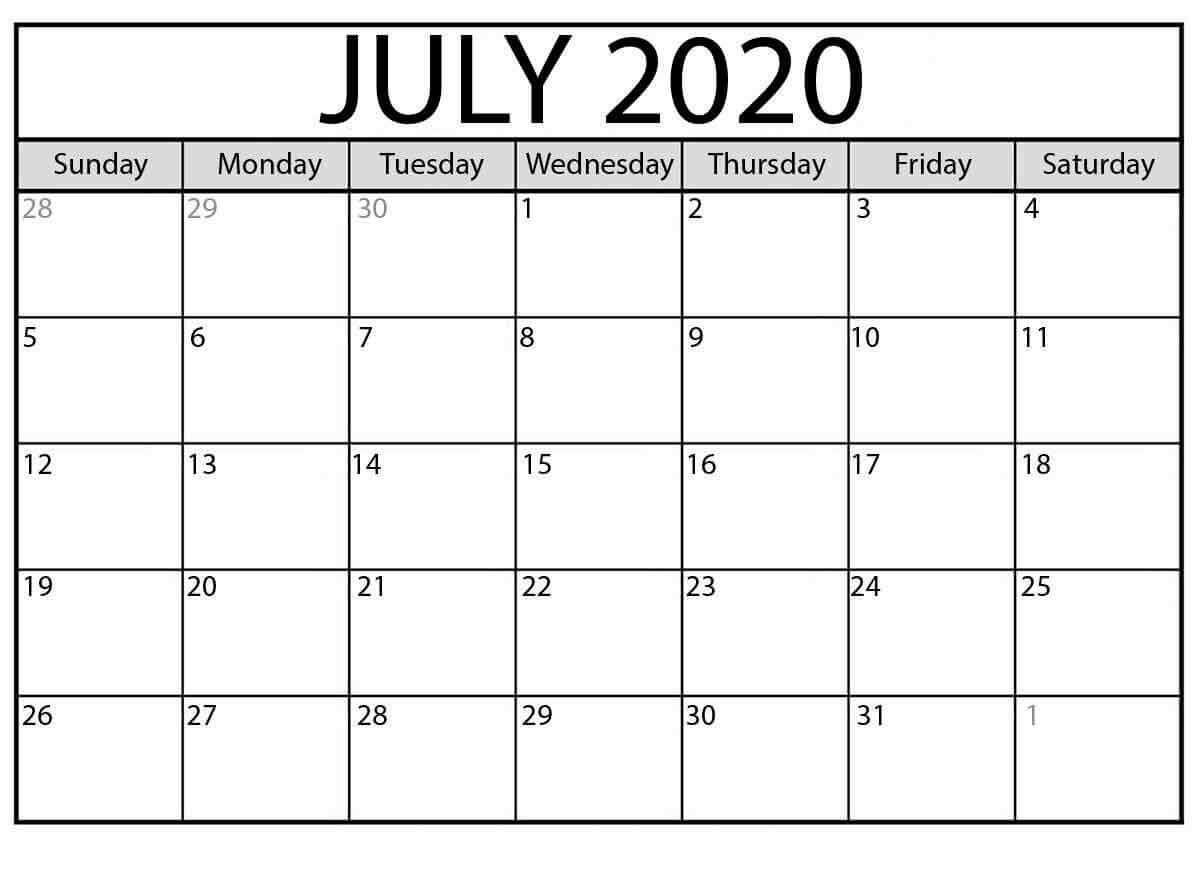 Free Editable July 2020 Calendar