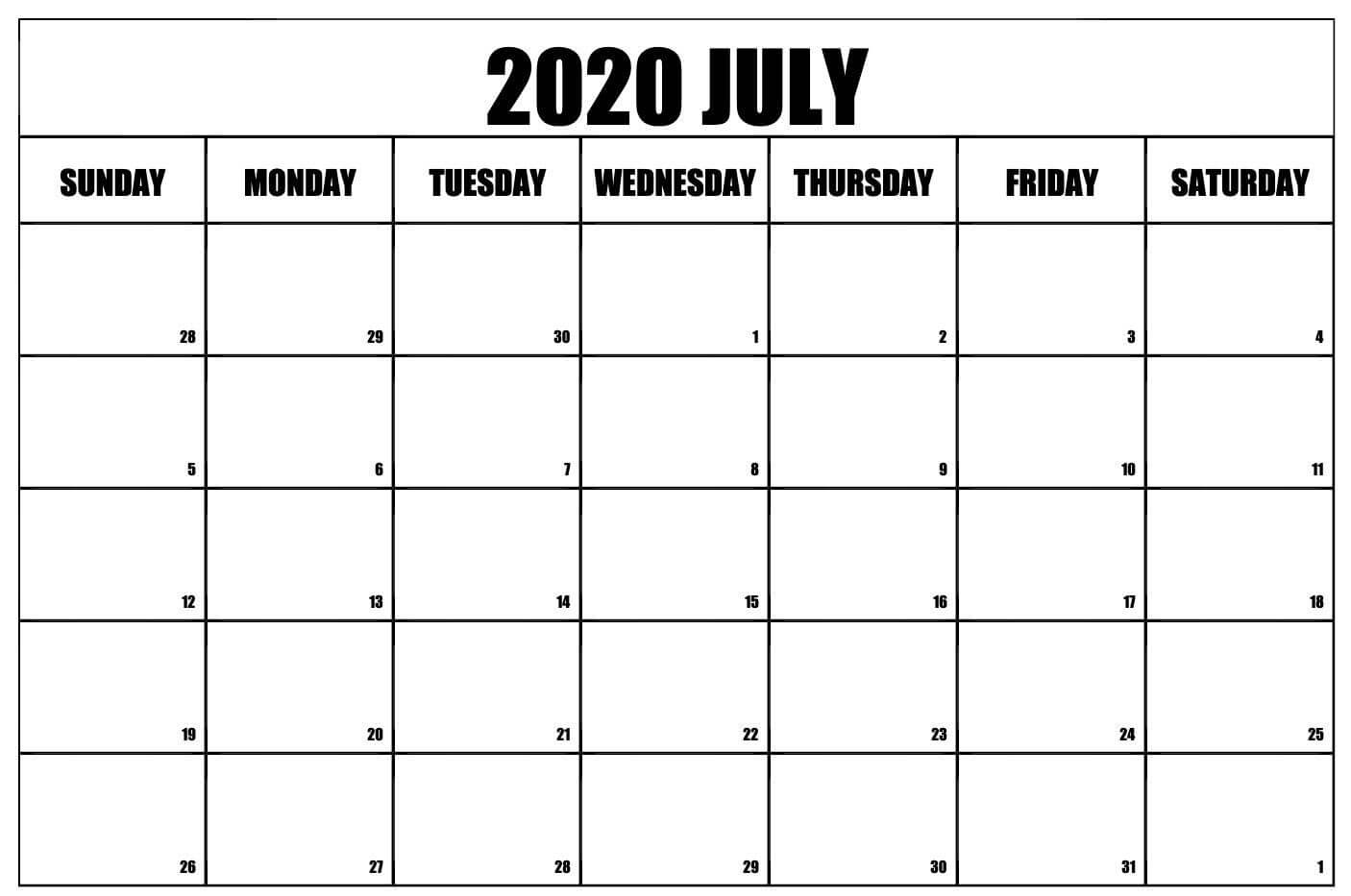 Free Fillable July Calendar 2020 Printable Templates