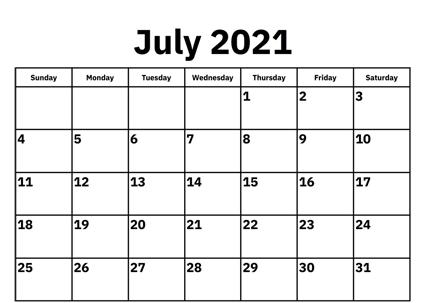Free Printable 2021 Calendar For July