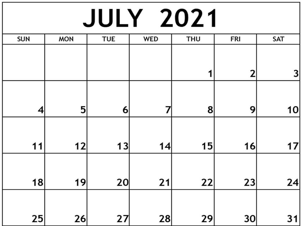 Free Printable July Calendar 2021