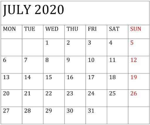 July 2020 Editable Calendar