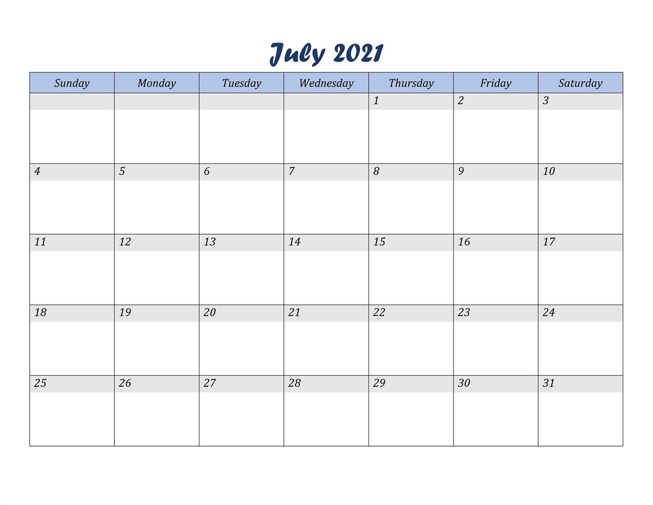July 2021 Calendar Editable Template