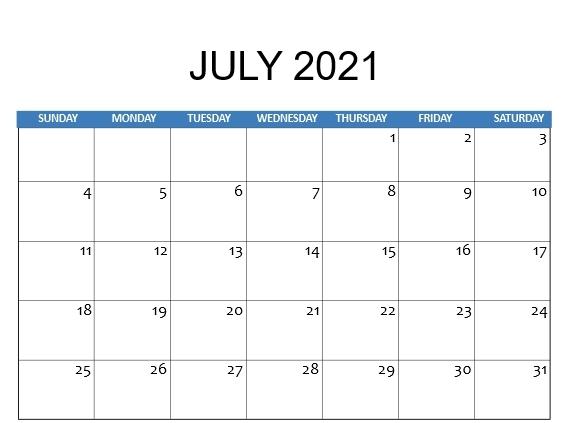 july 2021 calendar fillable template