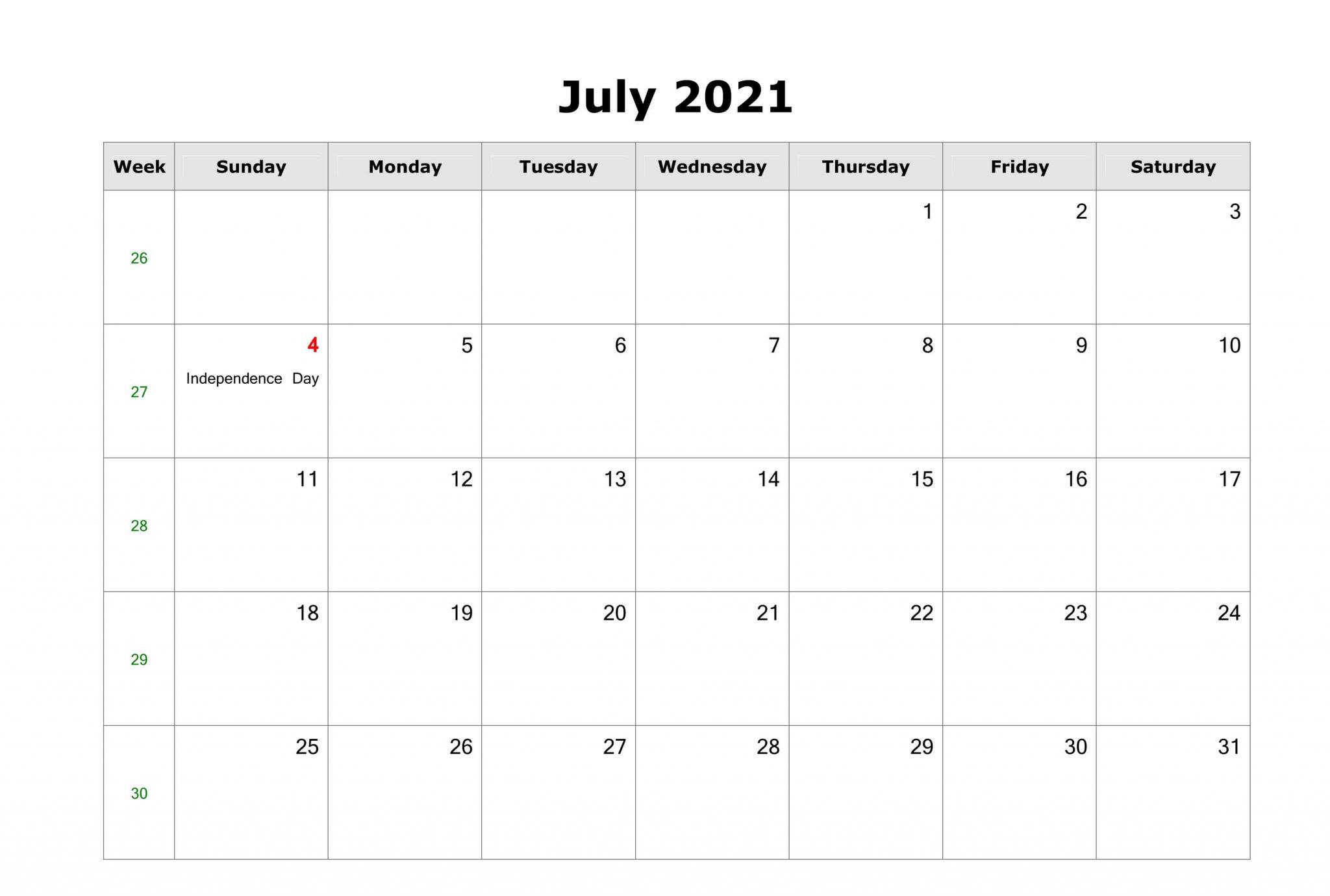 July 2021 Calendar for Office