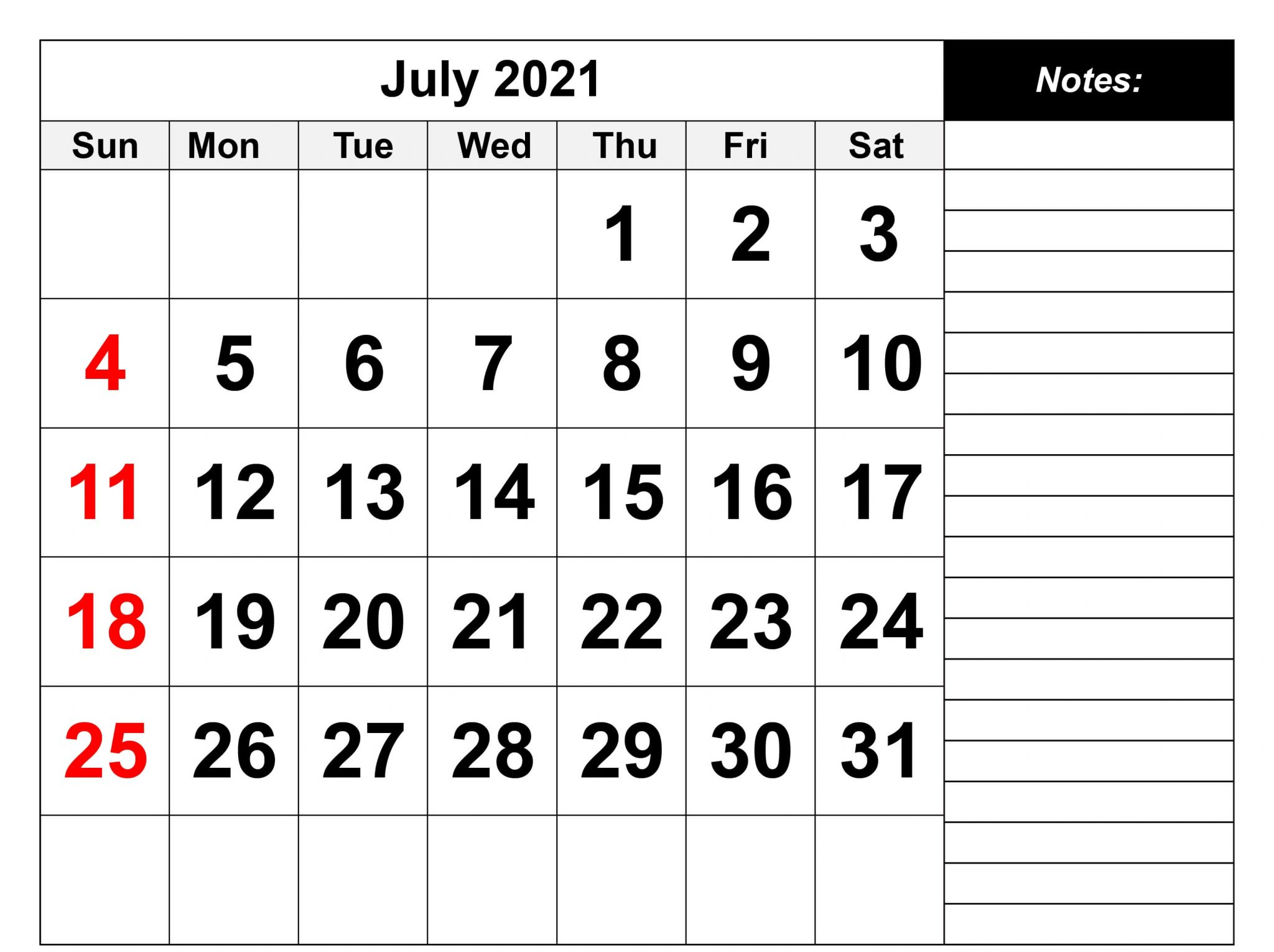 July 2021 Calendar for Personal Use