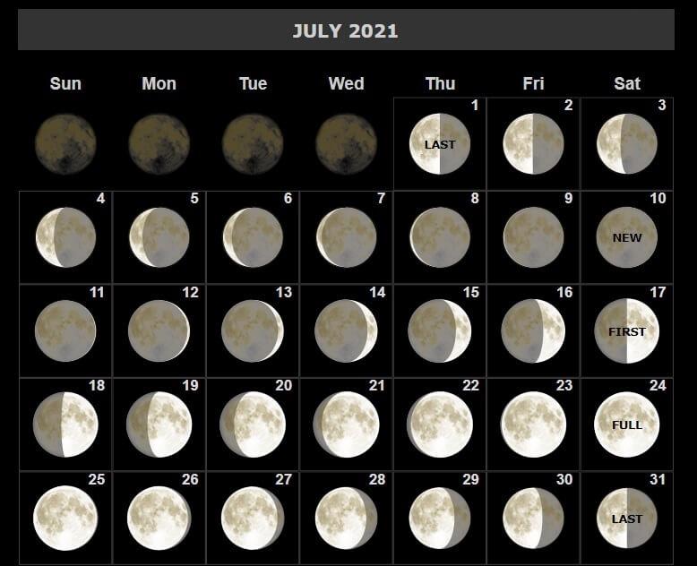 July 2021 Moon Calendar Printable