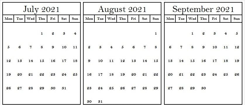 July August September Calendar 2021