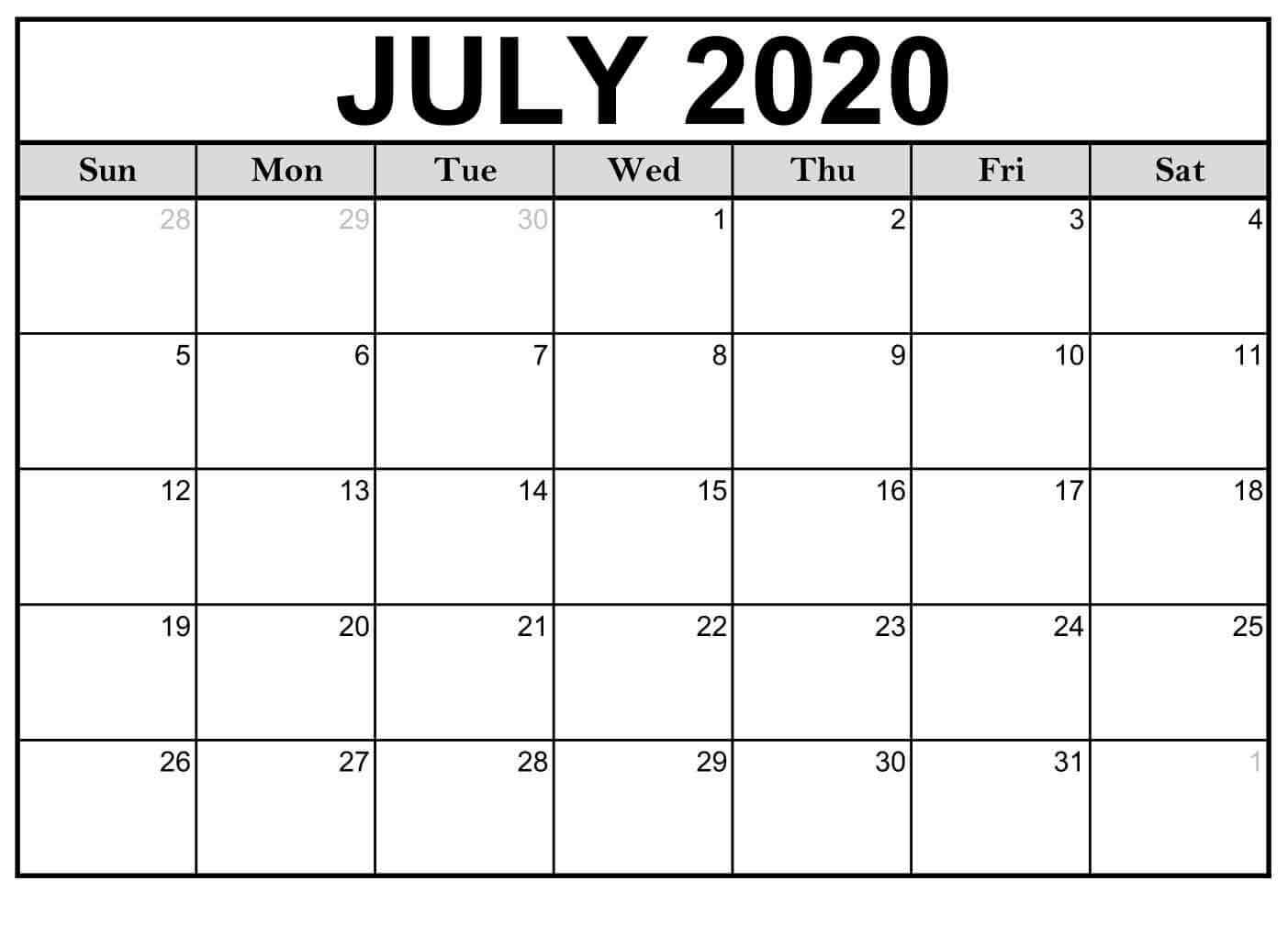 July Calendar 2020 Fillable Templates