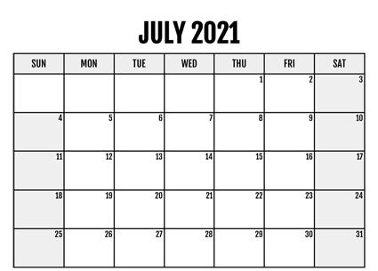 July Calendar 2021 Editable