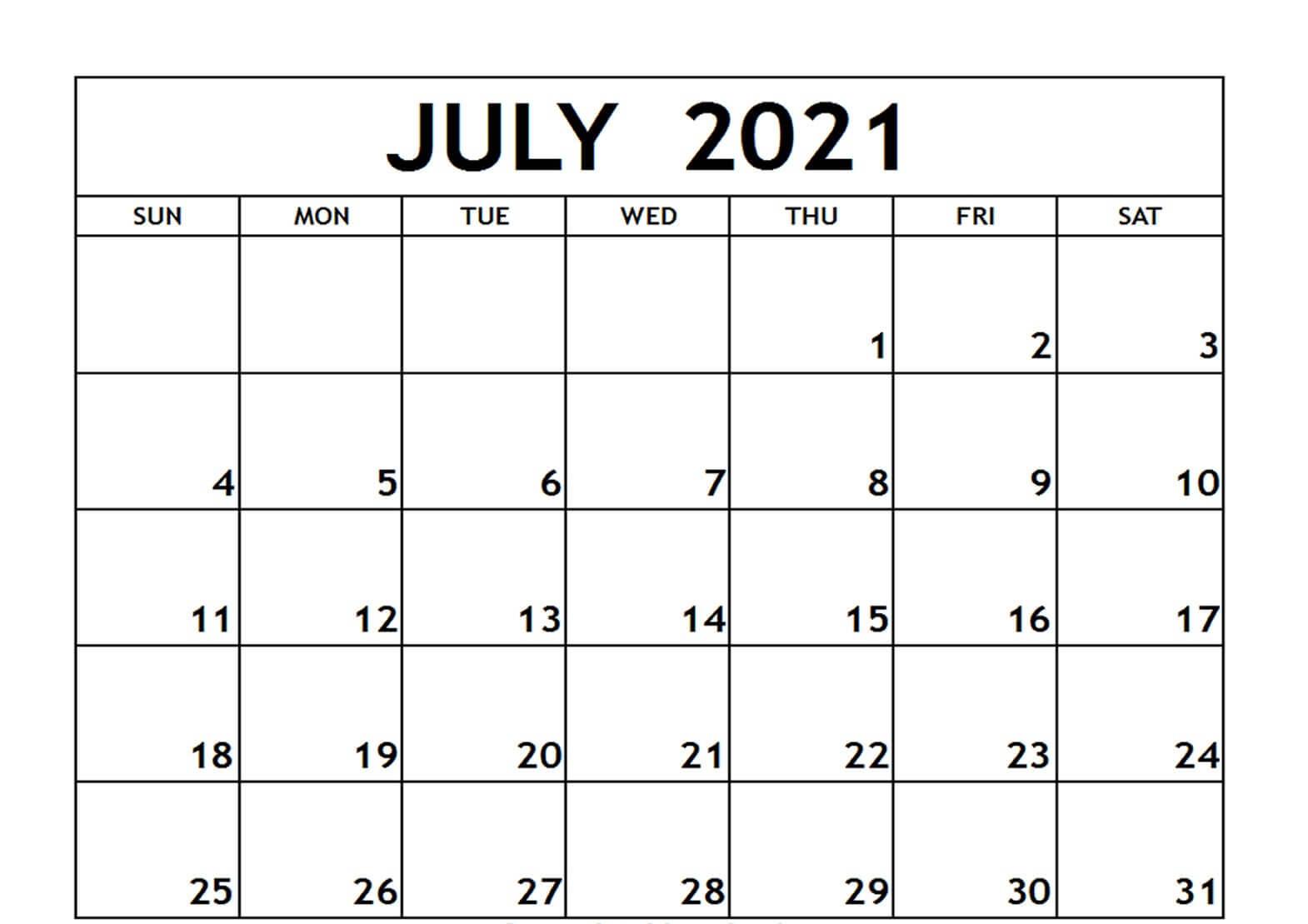 July Calendar 2021 Landscape