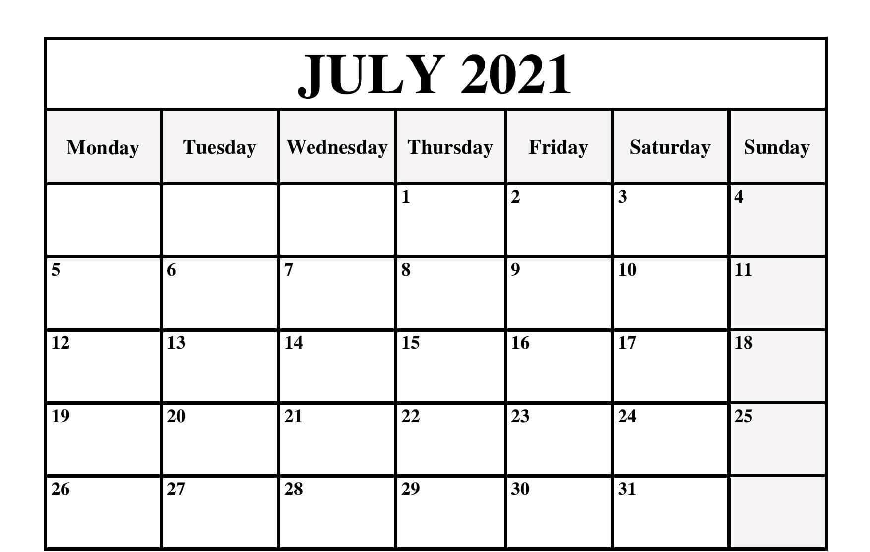 July Calendar 2021 Portrait