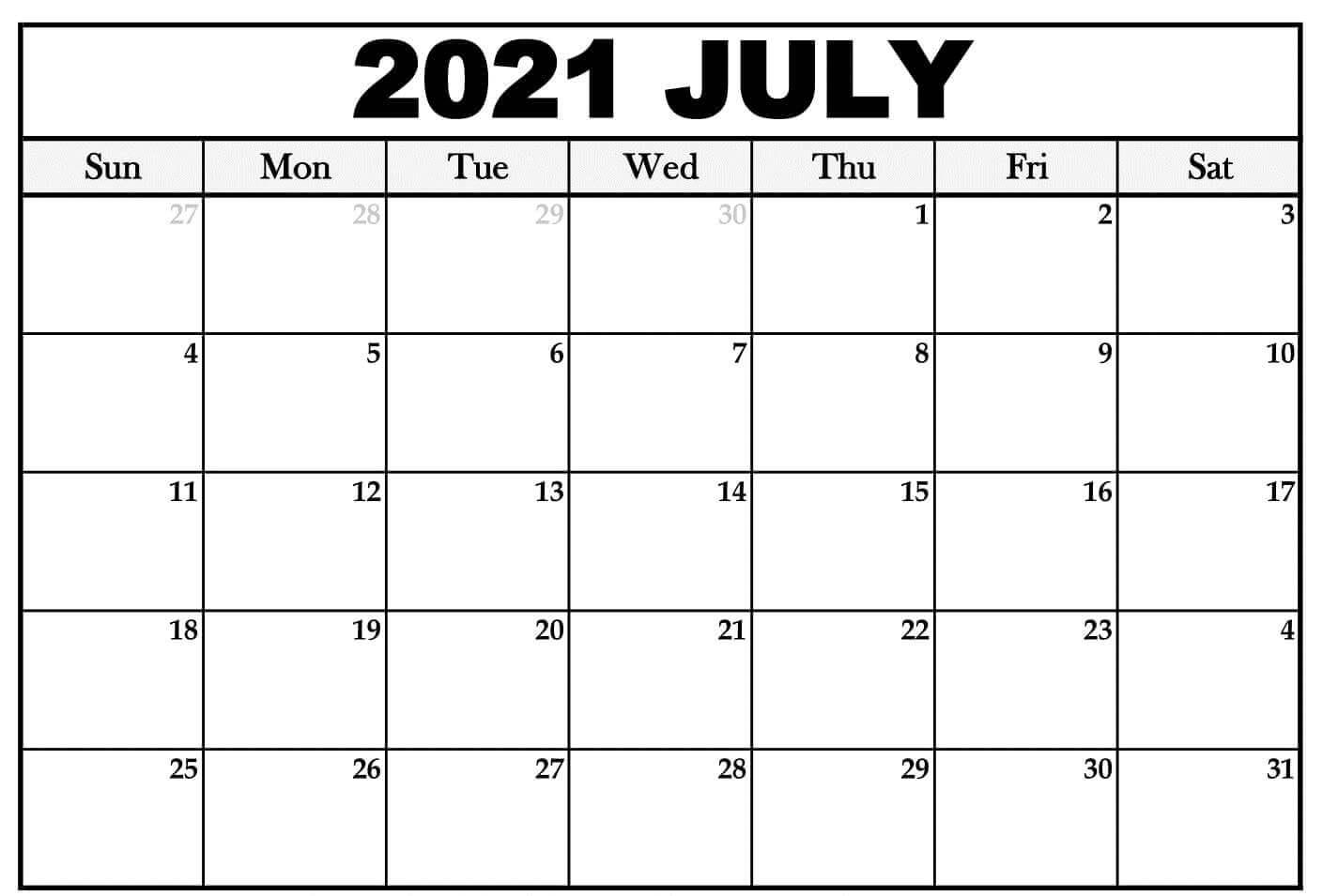 July Calendar 2021 Vertical