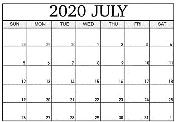 Printable Blank July Calendar 2020 for Home