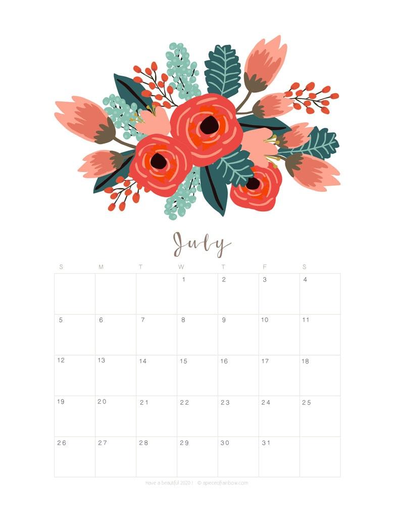 Printable Cute July 2020 Calendar for Personal