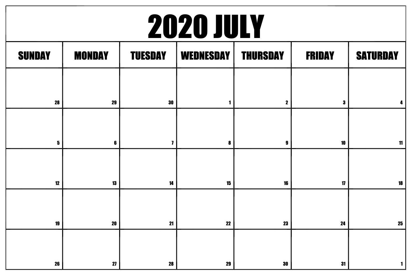 Printable July 2020 Calendar Templates
