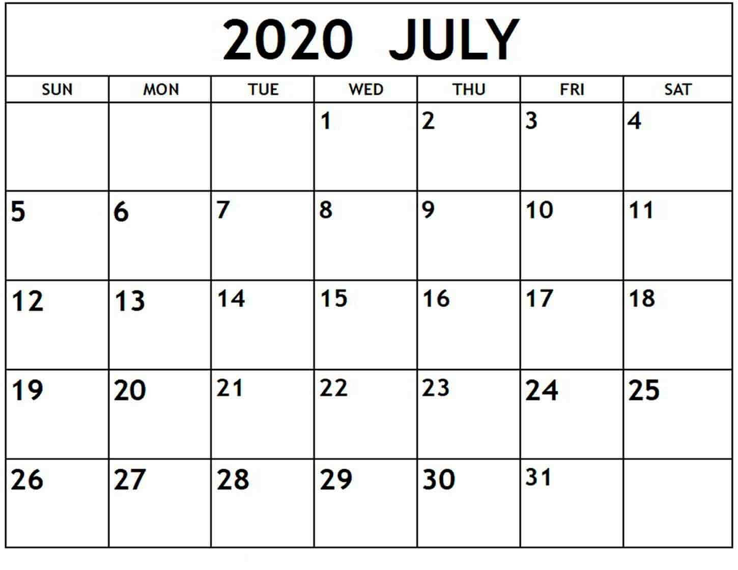 Printable July Calendar 2020 Editable Templates