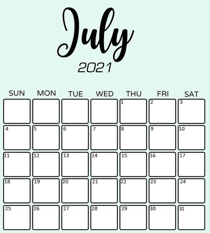 Printable July Calendar 2021